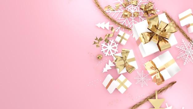 Celebrazione del festival della confezione regalo in oro rosa, confezione regalo di natale in oro rosa, rendering 3d