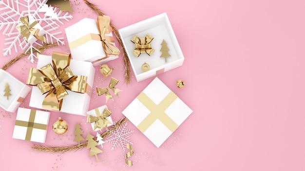 Celebrazione del festival della confezione regalo in oro rosa, confezione regalo di natale in oro rosa, vista dall'alto, rendering 3d