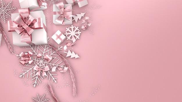 Confezione regalo in oro rosa celebrazione del festivalconfezione regalo di natale in oro rosa