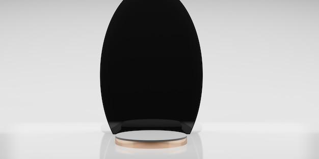 Illustrazione 3d di stile minimalista del fondo bianco del taglio del nero del banco di mostra del prodotto dell'oro rosa