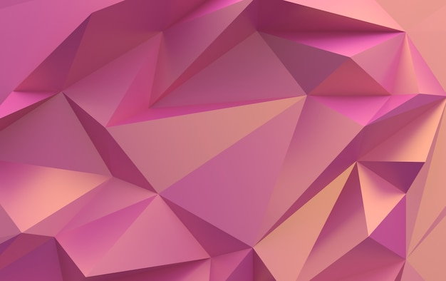 Poligoni triangolari sfumati rosa, rendering 3d