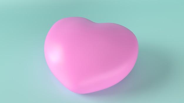Il cuore rosa sull'azzurro per la rappresentazione 3d del contenuto di salute.