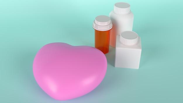 Il cuore rosa e la bottiglia della medicina per il rendering 3d di contenuti sanitari.