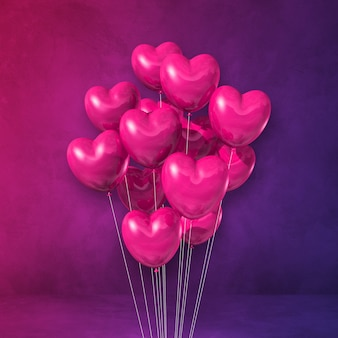 Mazzo di palloncini rosa a forma di cuore su uno sfondo di parete viola. rendering di illustrazione 3d