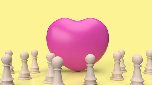 Il cuore rosa e gli scacchi in legno per il rendering 3d contenuto empatia.
