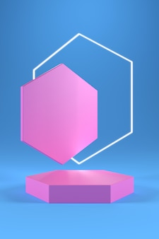Podio esagonale rosa e anello esagonale bianco su sfondo blu sfumato.