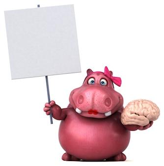 Illustrazione di ippopotamo rosa