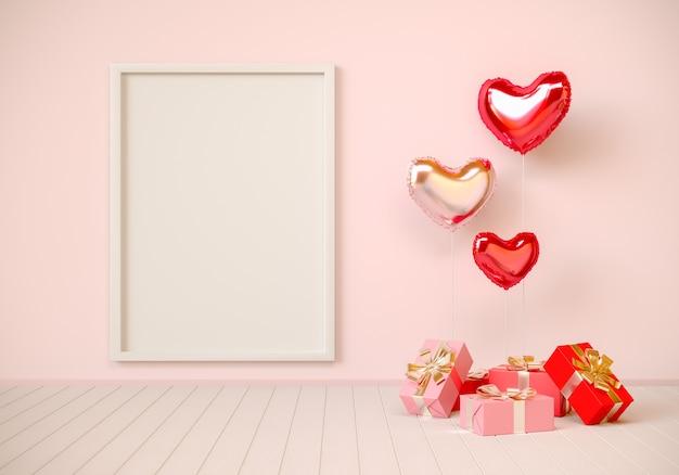 Interno rosa con regali, palloncini a forma di cuore e cornice. san valentino, rendering 3d illustrazione.