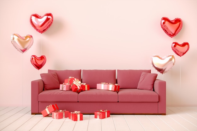Interno rosa con regali, palloncini a forma di cuore e divano. san valentino, rendering 3d illustrazione.