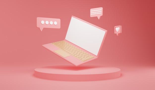 Computer portatile rosa con icone di discorso della bolla. laptop mock up, 3d'illustrazione