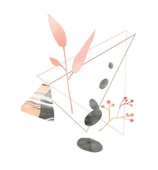 Figura del triangolo del ramo di foglia rosa e pietre di ciottoli concetto di equilibrio e armonia della consapevolezza