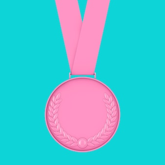 Medaglia rosa con corona di alloro in stile bicolore su sfondo blu. rendering 3d