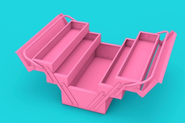Cassetta degli attrezzi classica in metallo rosa in stile bicolore su sfondo blu. rendering 3d