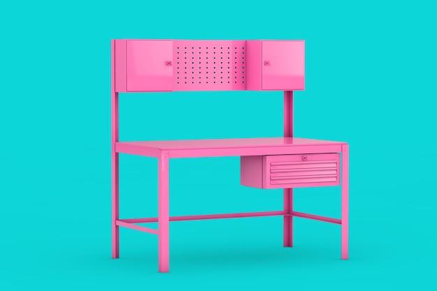 Banco da lavoro in metallo rosa in stile bicolore su sfondo blu. rendering 3d