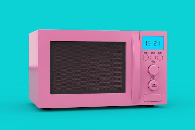 Forno a microonde moderno rosa come stile bicolore su sfondo blu. rendering 3d