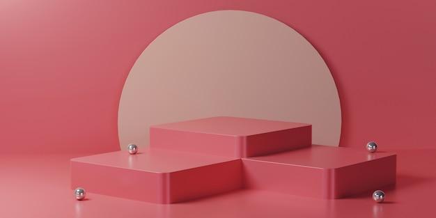 Podio quadrato multiplo rosa con cerchio su una stanza rosa