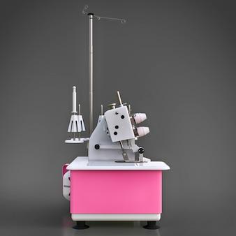 Overlock rosa su superficie grigia