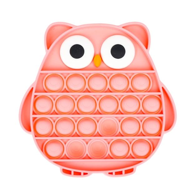 Gufo rosa semplice fossetta, fallo scoppiare. giocattolo antistress alla moda e moderno per bambini e adulti.