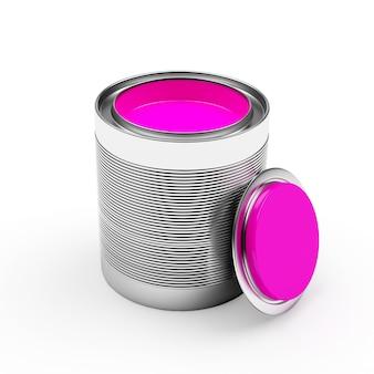 Barattolo di latta di vernice rosa con coperchio aperto