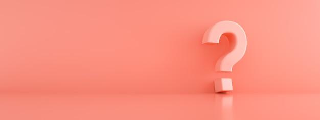 Punto interrogativo di colore pastello rosa isolato sul rosa con ombra e riflesso