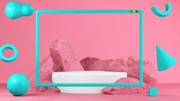 Stand gastronomico rosa pastello in background. concetto astratto di geometria minima