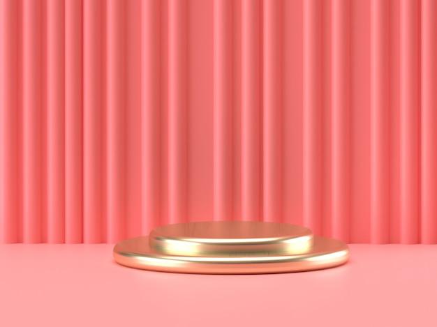 Il pastello rosa e il prodotto dell'oro stanno su fondo. concetto di geometria minima astratta. rendering 3d