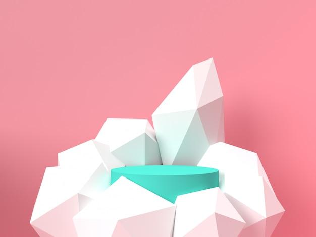 Supporto pastello rosa del prodotto su fondo. concetto astratto geometria minima