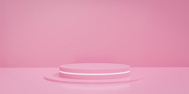 Palco o podio rotondo rosa pastello con luce fluorescente. concetto di piattaforma di visualizzazione del prodotto. rendering 3d.