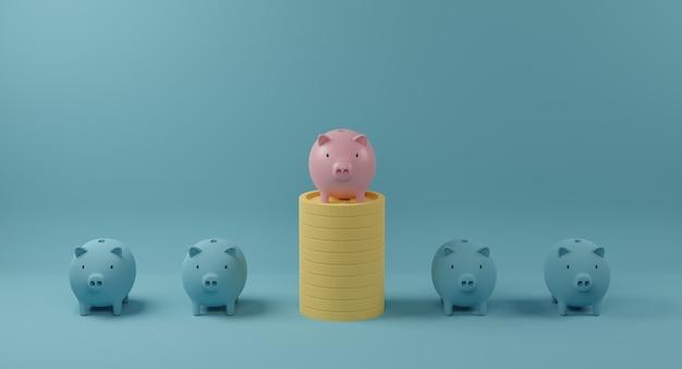 Salvadanaio rosa sulla pila di monete in piedi fuori dalla folla di identici compagni blu. concetto di eccezionale e diverso. rendering 3d.