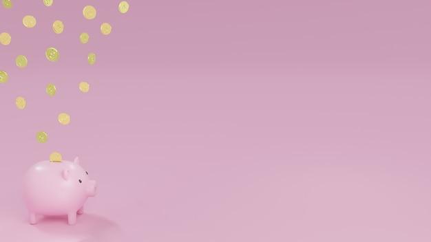 Salvadanaio rosa e monete d'oro che cadono con il simbolo del dollaro con sfondo azzurro. 3d render illustrazione