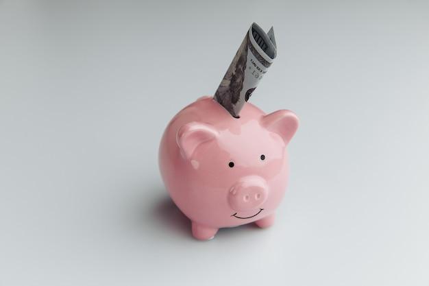 Salvadanaio rosa con banconote in dollari su sfondo bianco. finanza, concetto di risparmio di denaro.