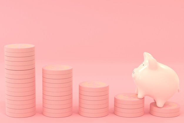 Il porcellino salvadanaio rosa con il dollaro conia su colore rosa, risparmiando il concetto dei soldi con la rappresentazione 3d
