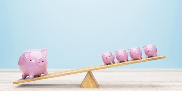 Salvadanaio rosa in equilibrio su altalena 3d'illustrazione