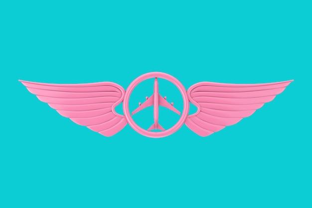 Emblema dell'ala pilota rosa, distintivo o simbolo del logo in stile bicolore su sfondo blu. rendering 3d