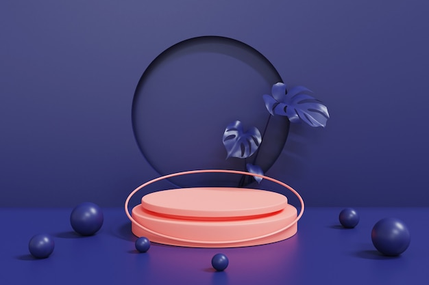 Podio rosa sul podio del cilindro geometrico blu, astratto
