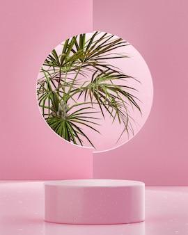 Supporto da palco rosa sul podio su sfondo di alberi tropicali per il posizionamento del prodotto 3d render