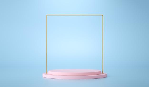 Podio rosa con cornice dorata su sfondo blu per la presentazione del prodotto. rendering 3d