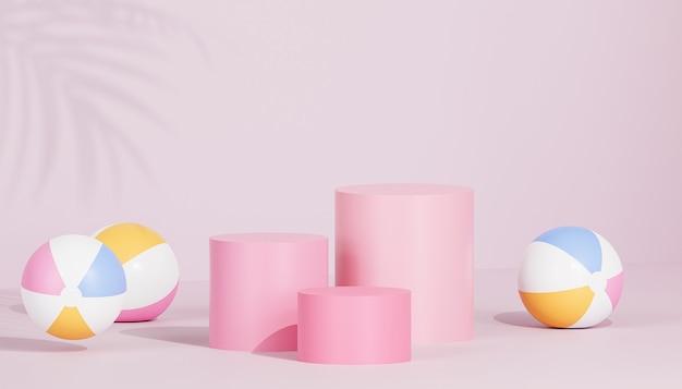Podio rosa o piedistalli per prodotti o pubblicità su sfondo tropicale con palloni da spiaggia, rendering 3d