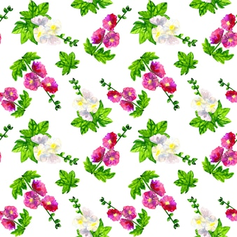 Malva viola rosa con foglie. malva bianca. seamless pattern. illustrazione dell'acquerello disegnato a mano. texture per stampa, tessuto, tessuto, carta da parati.