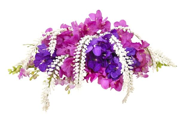 Disposizione dei fiori dell'orchidea di vanda rosa e viola