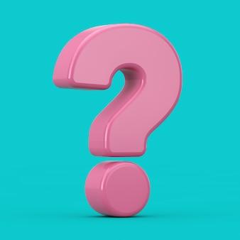 Segno di punto interrogativo rosa come stile a due tonalità su sfondo blu. rendering 3d