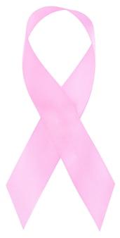 Nastro rosa, simbolo di consapevolezza del cancro al seno, isolato su bianco.