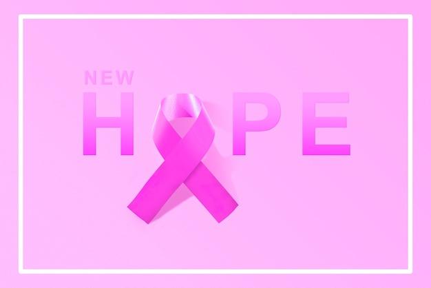 Nastro rosa con testo di nuova speranza su uno sfondo colorato. concetto di giornata mondiale contro il cancro