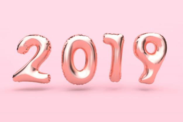 Tipo-palloncino astratto dell'oro della rosa-rosa che galleggia rappresentazione rosa di concetto 3d di festa del nuovo anno del fondo