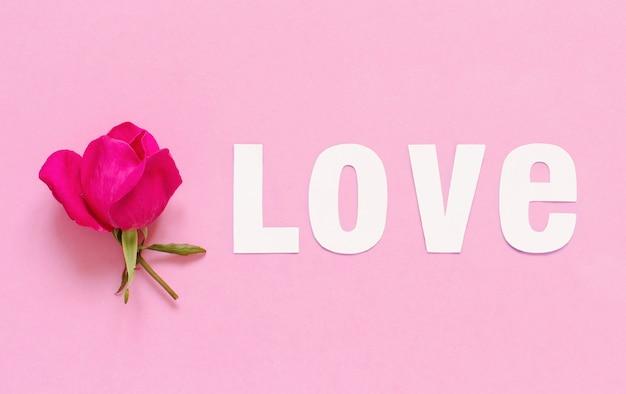Rosa rosa e parola amore su una vista dall'alto di sfondo rosa chiaro
