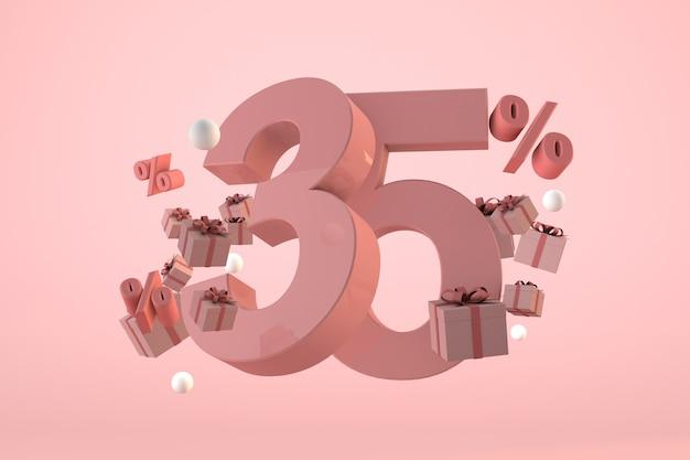 Vendita rosa 35% di sconto, promozione e celebrazione con scatole regalo e percentuale. rendering 3d