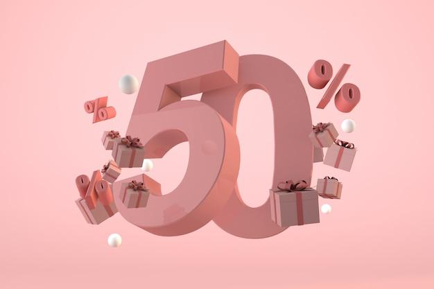 Vendita rosa 50% di sconto, promozione e celebrazione con scatole regalo e percentuale. rendering 3d