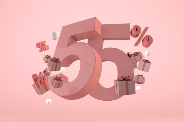 Vendita rosa 55% di sconto, promozione e celebrazione con scatole regalo e percentuale. rendering 3d