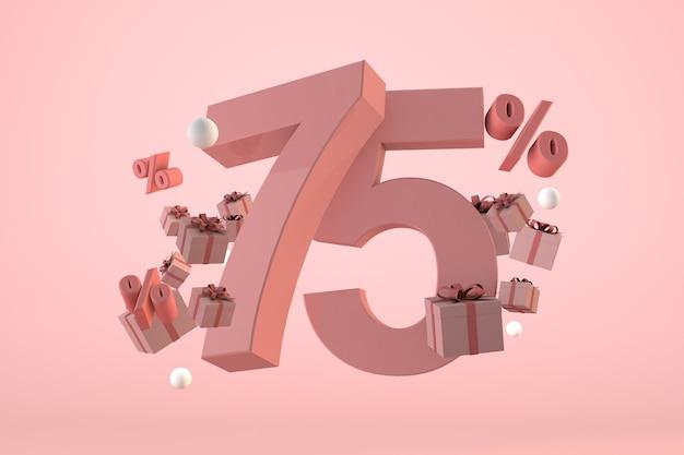 Vendita rosa 75% di sconto, promozione e celebrazione con scatole regalo e percentuale. rendering 3d