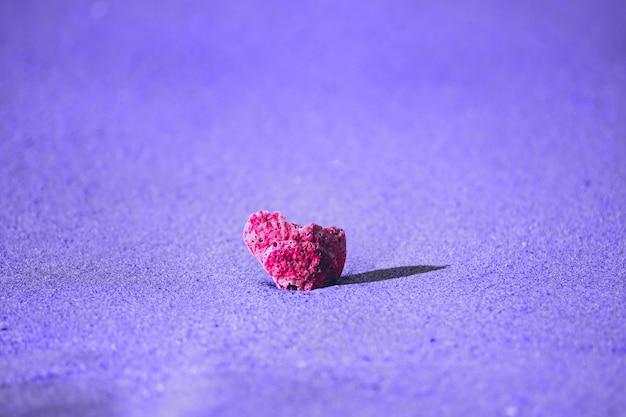 Conchiglia rosa da vicino nel mezzo sulla sabbia viola sulla spiaggia del mare
